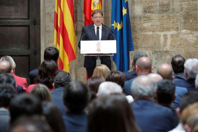 El president de la Generalitat, Ximo Puig, durante su intervención en el acto institucional de conmemoración del Día de Europa. EFE