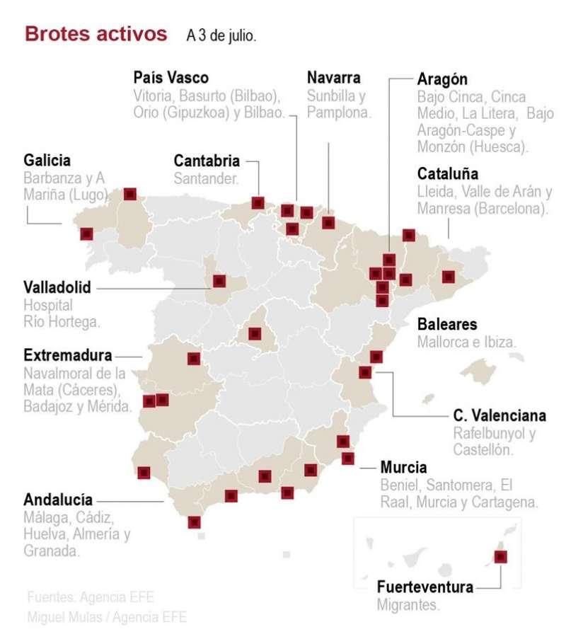Mapa de los brotes de Covid-19. EFE
