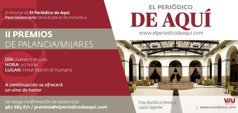 Invitación a los II Premios Alto Palancia Alto Mijares. / epda