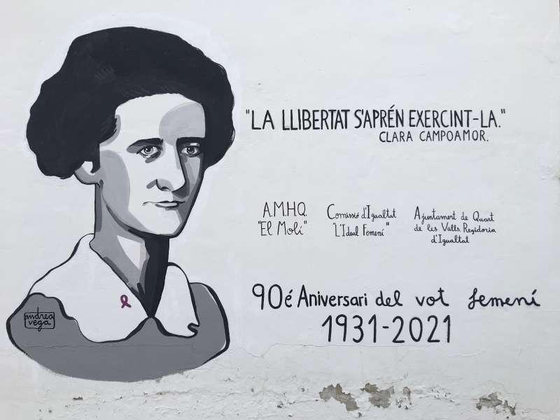 Mural de Clara Campoamor en Quart de les Valls en una imagen proporcionada por el Ayuntamiento.