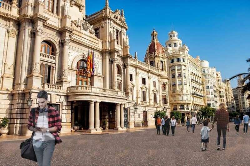 Recreación virtual del suelo de la Plaza del Ayuntamiento de València. EPDA/Archivo