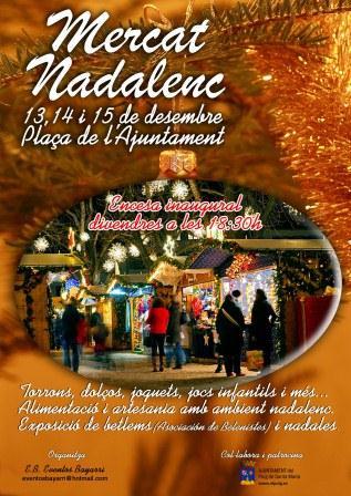 Cartel que anuncia el Mercado Navideño en El Puig.