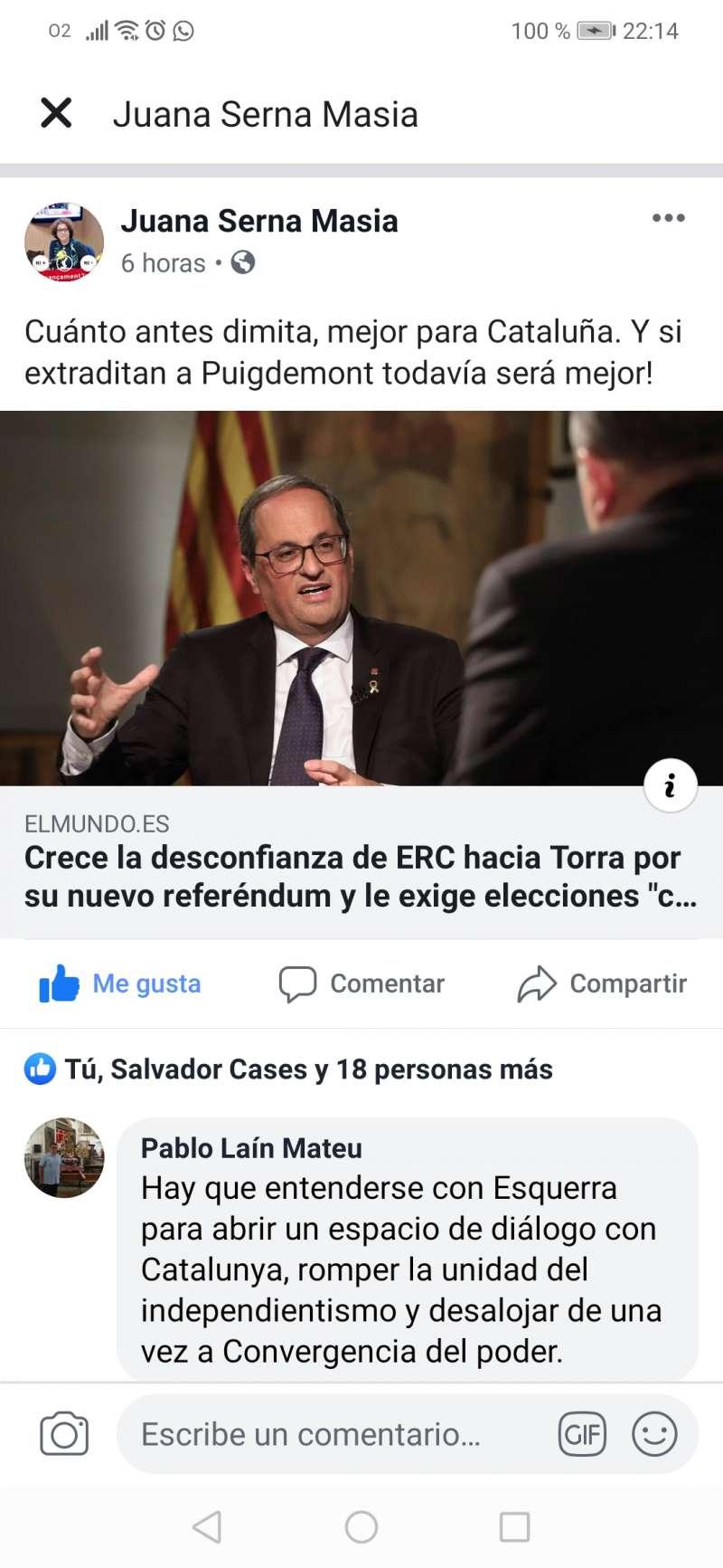 Facebook de Juana Serna. EPDA