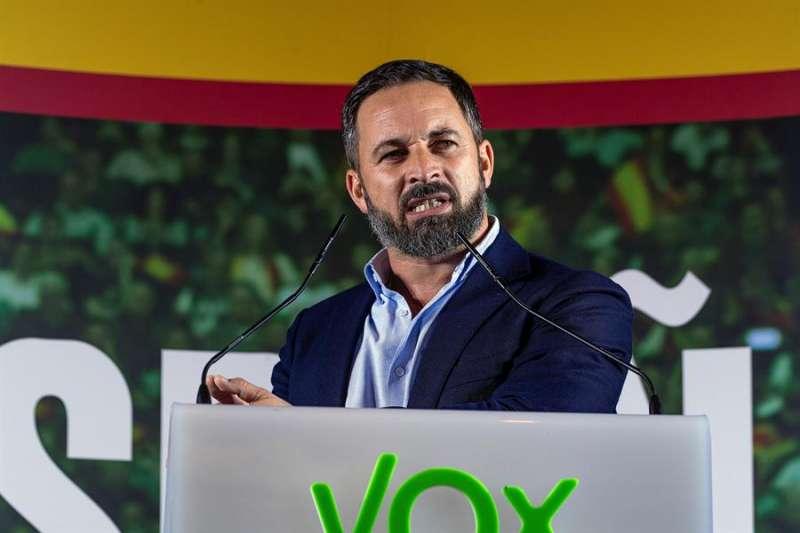 El presidente de Vox, Santiago Abascal, durante un acto público del partido. EFE/Ismael Herrero