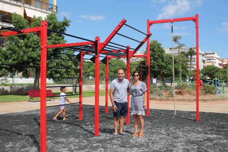 Los concejales de Canet en el nuevo parque del faro. EPDA
