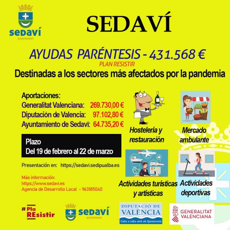 Anuncio con las ayudas Paréntesis en Sedaví. EPDA