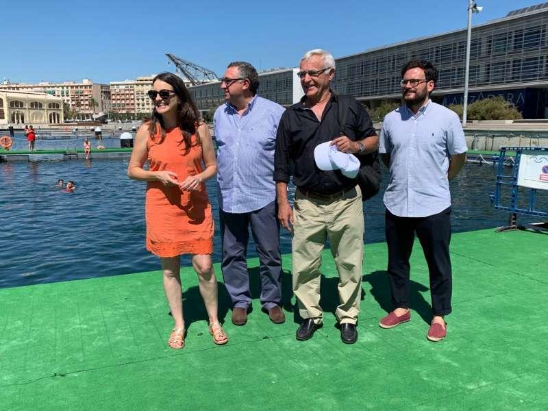 La vicepresidenta de la Generalitat, el alcalde de València y el director de La Marina. GVA