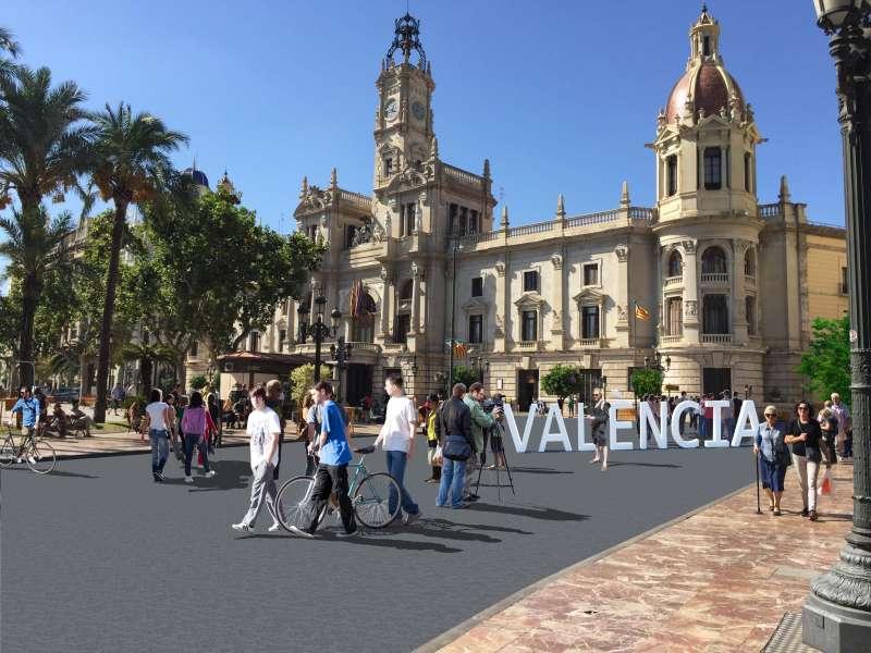 Fotomontaje de la Plaza del Ayuntamiento de València