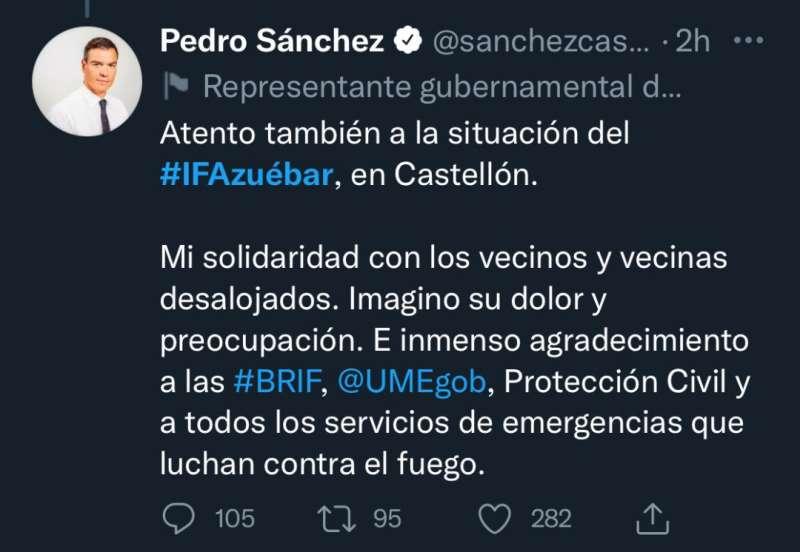 Twit del Presidente del Gobierno