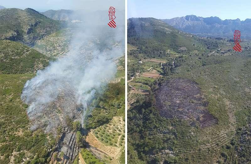 Imágenes del incendio, ya sofocado en la derecha