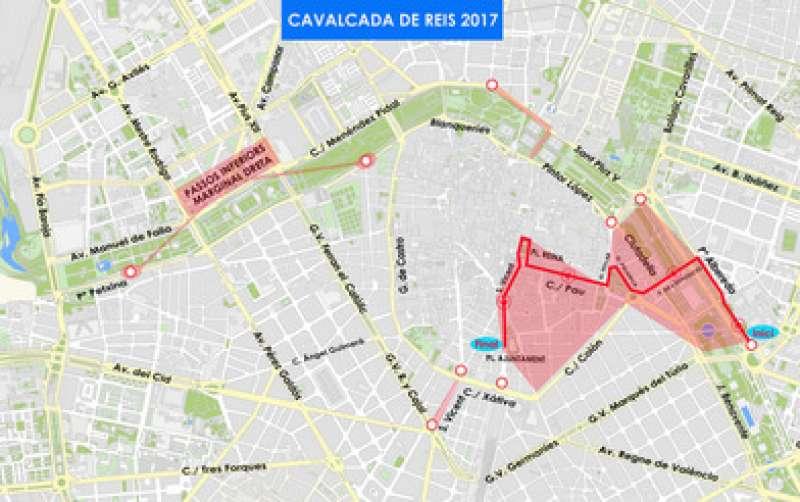 Itinerario de la Cabalgata de Reyes Magos 2017 de Valencia. EPDA