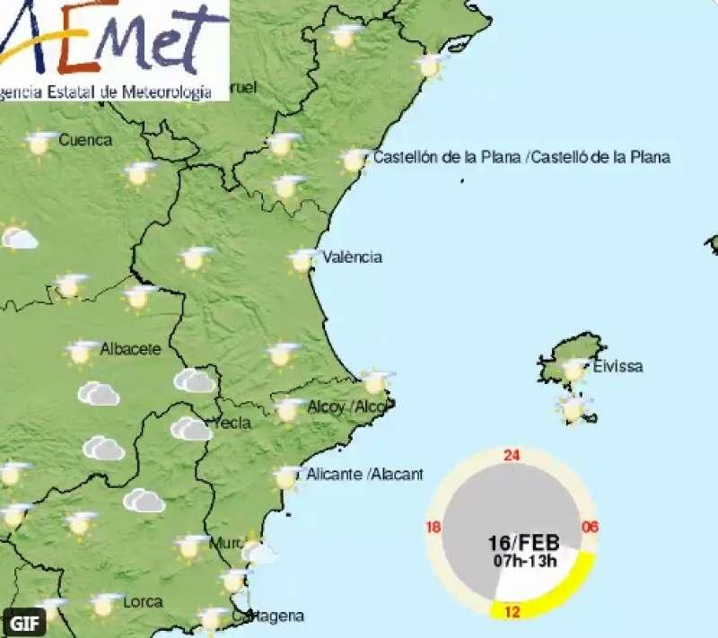 Mapa del tiempo de este martes