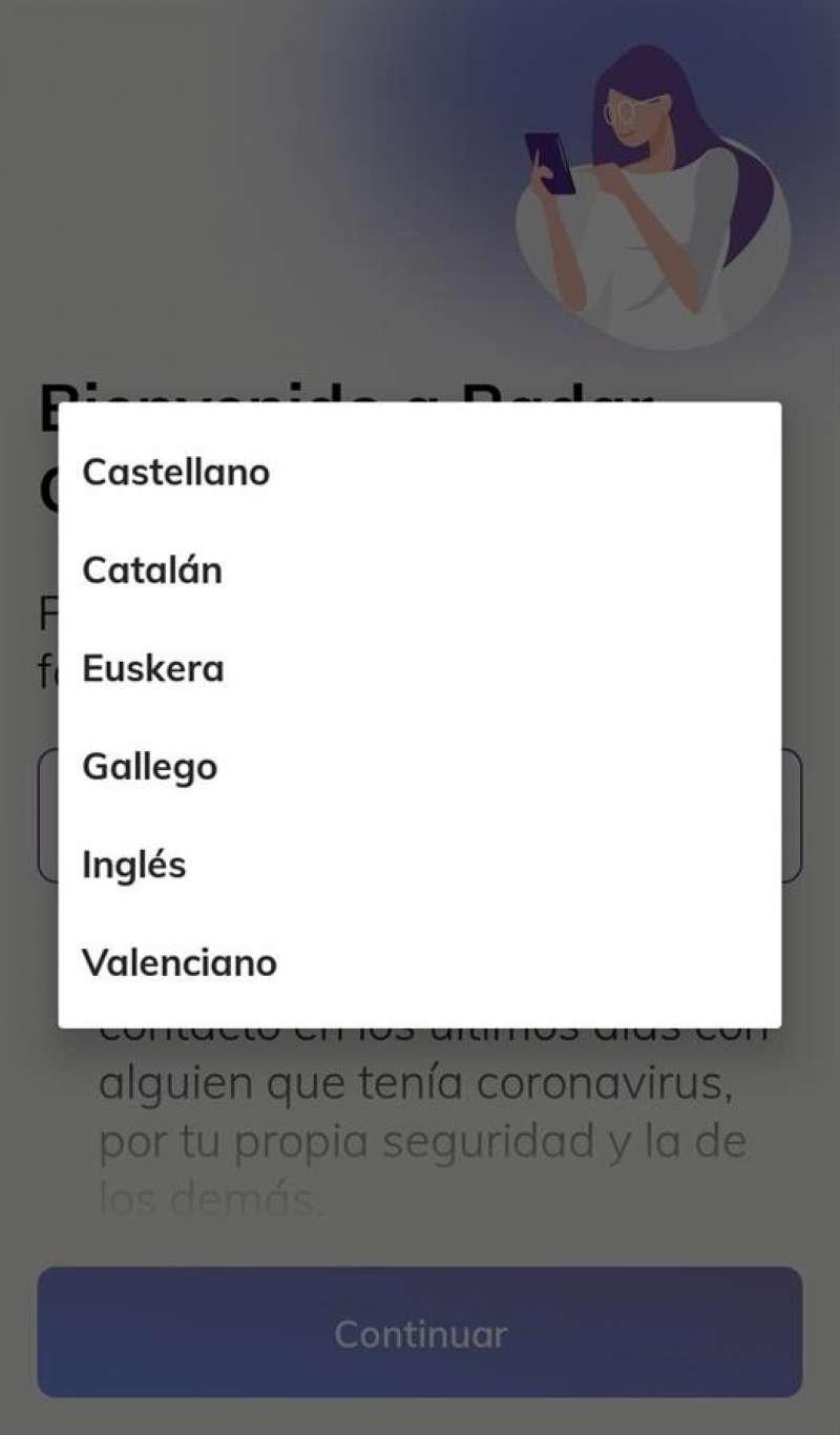 Detalle de RadarCovid, en una imagen compartida en redes por Escola Valenciana.