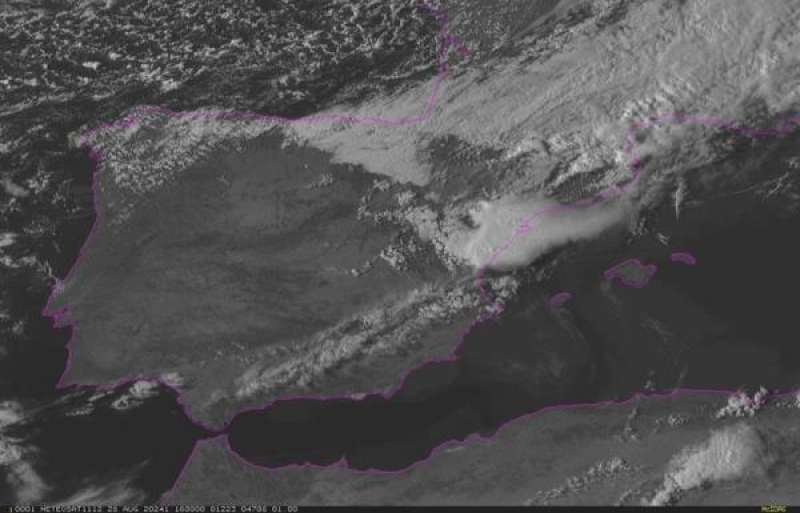 Nube de tormenta en Castellón desde el satélite Meteosat. EFE/Aemet Comunitat Valenciana./ EPDA