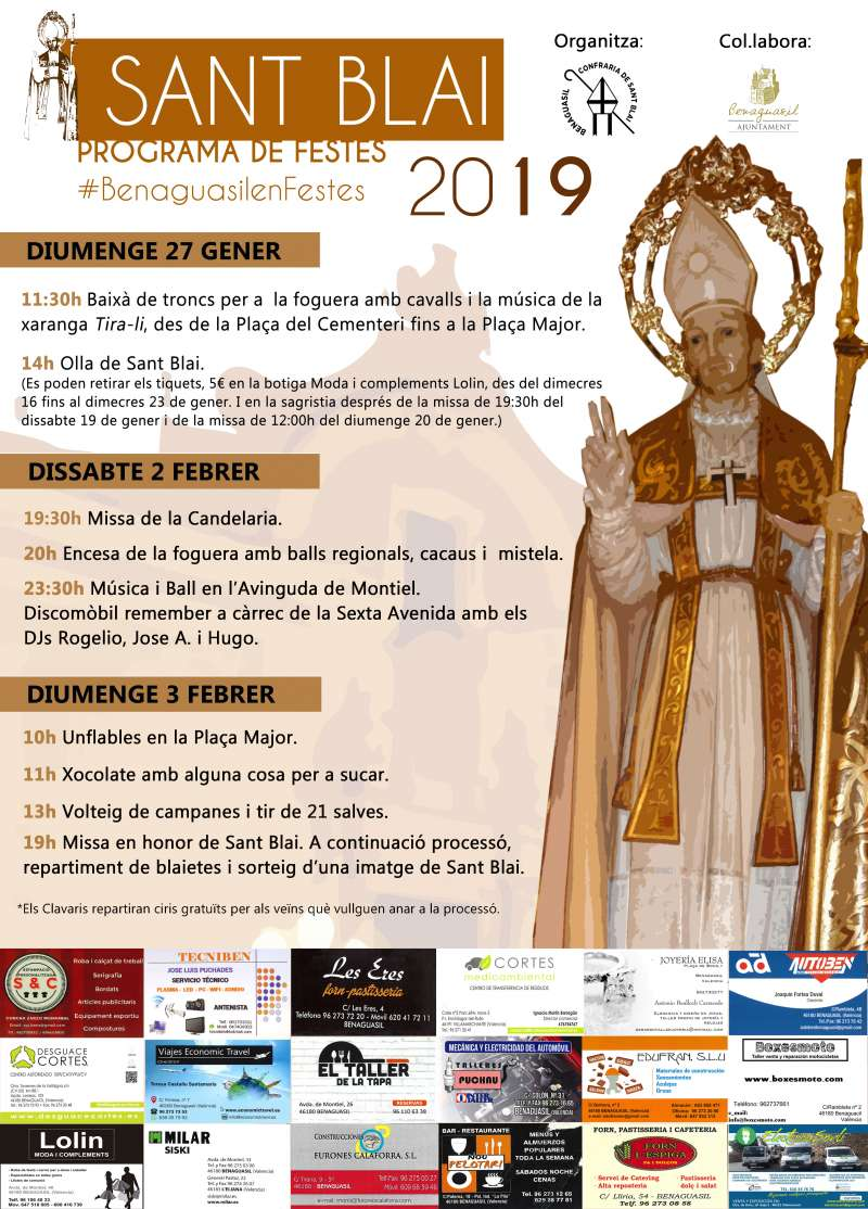 Cartel de las celebraciones de San Blas en Benaguasil. / EPDA