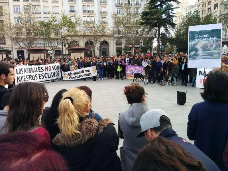 Centenares de personas en la plaza del Ayuntamiento.