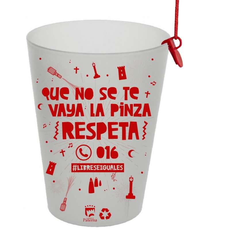 Vasos de la camapaña realizada por Paterna para las Fiestas Patronales. EPDA