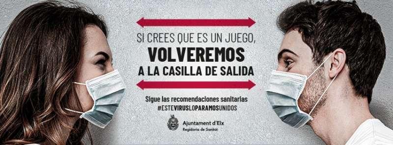 Campaña del Ayuntamiento de Elche para concienciar sobre las medidas para frenar al coronavirus.