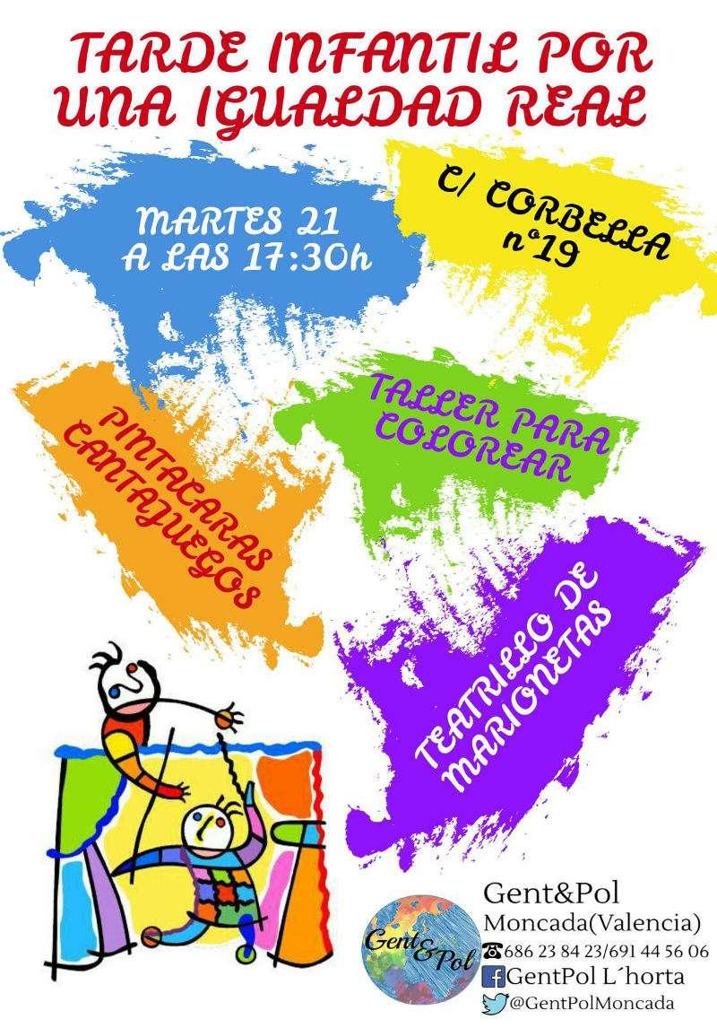 Cartel de las actividades infantiles de Gent&Pol en Moncada. EPDA