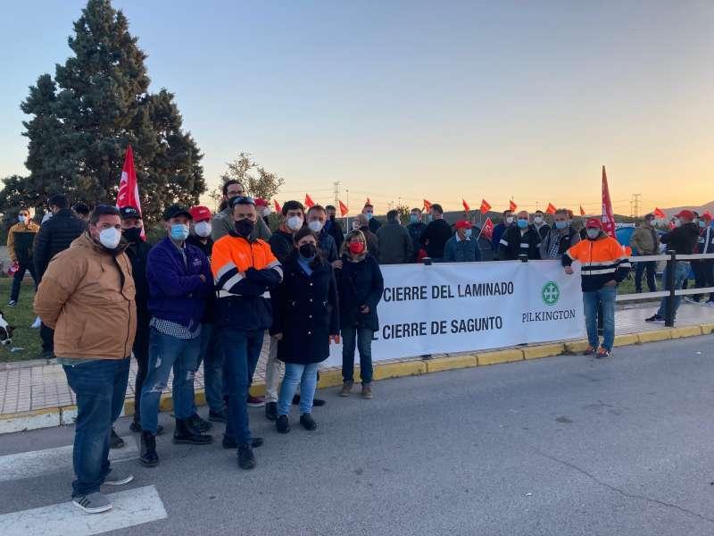 Trabajadores de Pilkington en la huelga