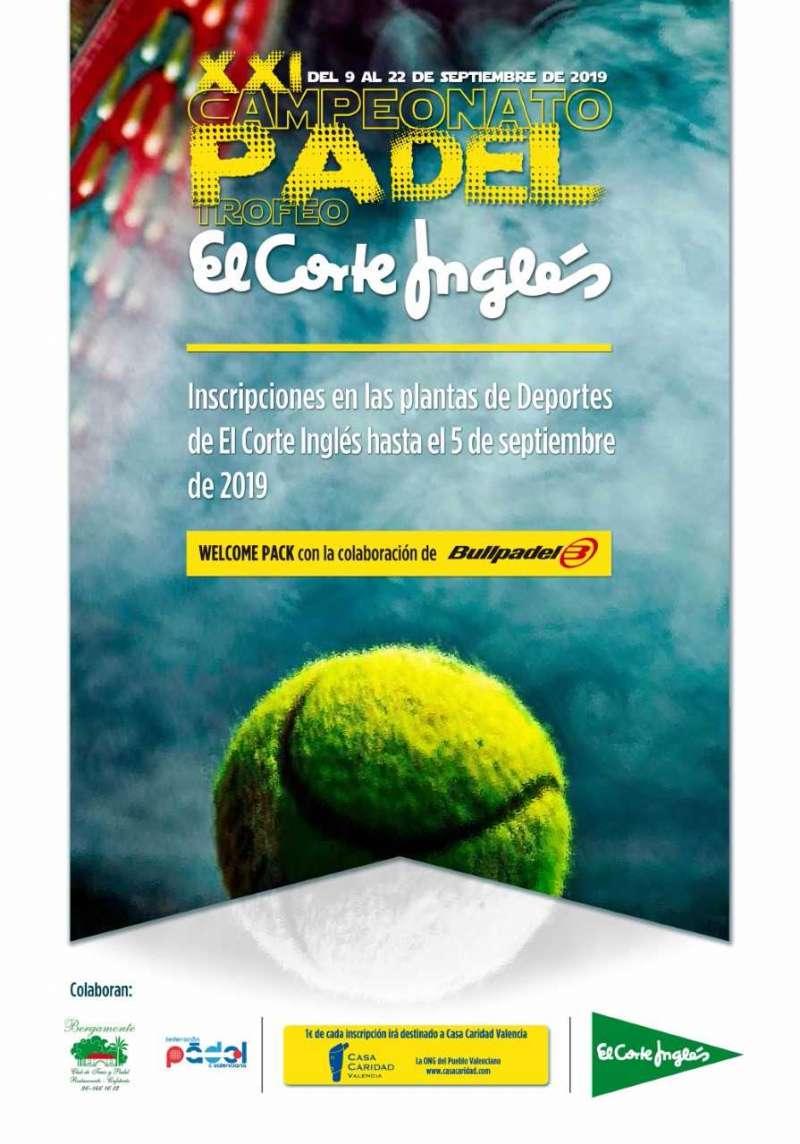 Cartel del XXI Campeonato de Padel El Corte Inglés. EPDA