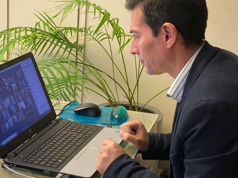 García participa en el pleno por videoconferencia. EPDA