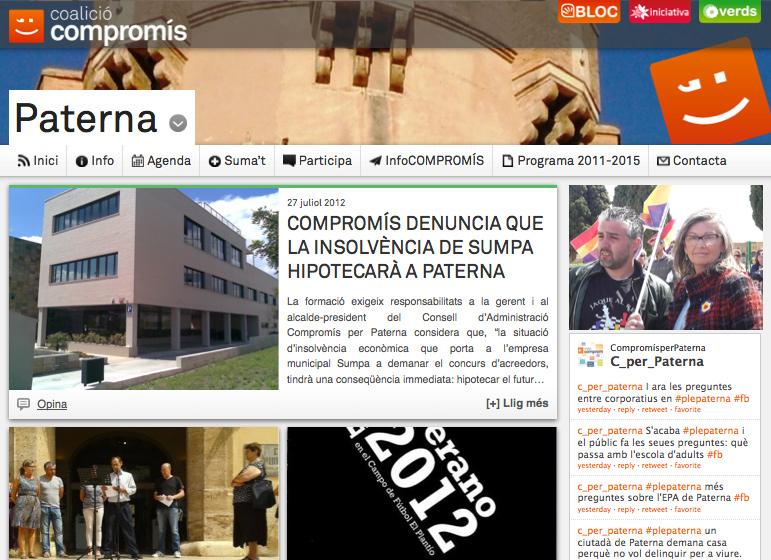 Pantallazo de la nueva web de Compromís en Paterna