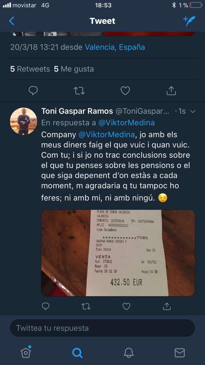 Respuesta del diputado Toni Gaspar al tuit del edil de Compromís de Torrent.