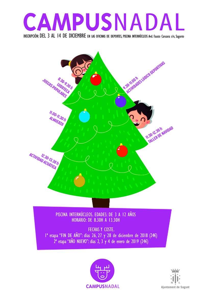 Cartel del Campus de Nadal organizado por el departamento de Deportes de Sagunt. EPDA