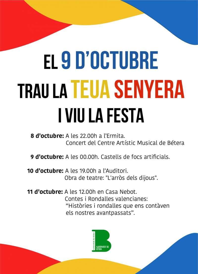 Cartel de la programación de actos del 9 de Octubre. / EPDA