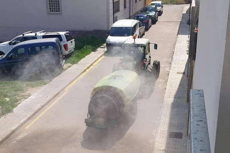 Desinfección en las calles de Jérica