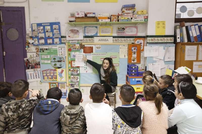 Los alumnos en el colegio abierto estas Navidades. EPDA