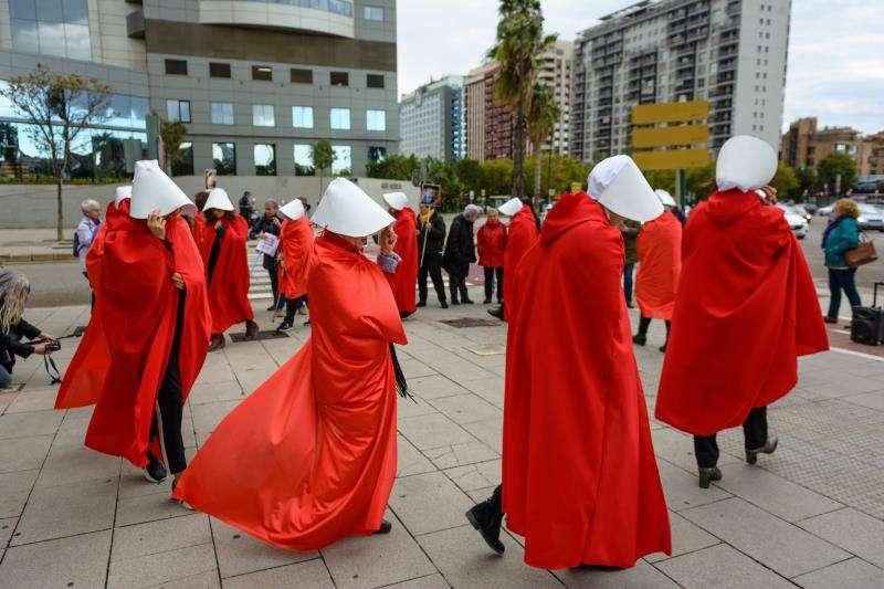 Imagen de la protesta celebrada en València, facilitada por el movimiento feminista. EFE