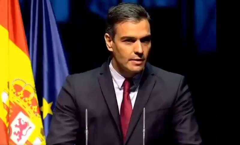 Pedro Sánchez durante la conferencia