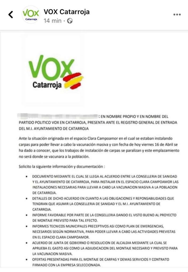 Registro de entrada de VOX Catarroja.