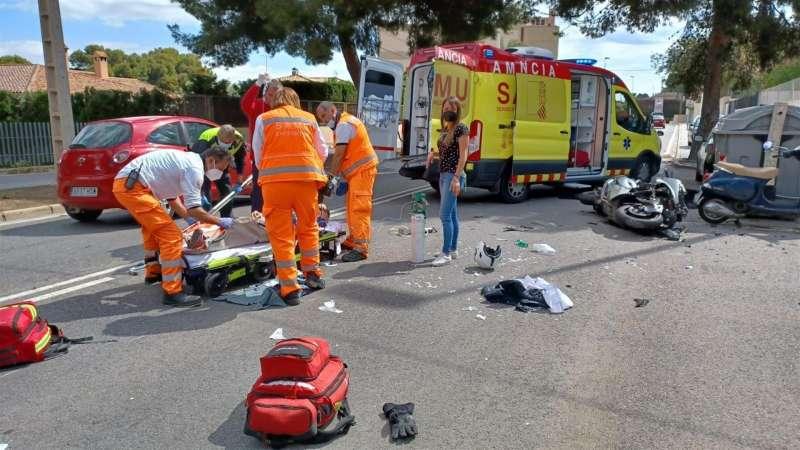 Una imagen del accidente, facilitada por la Policía Local del Alicante.