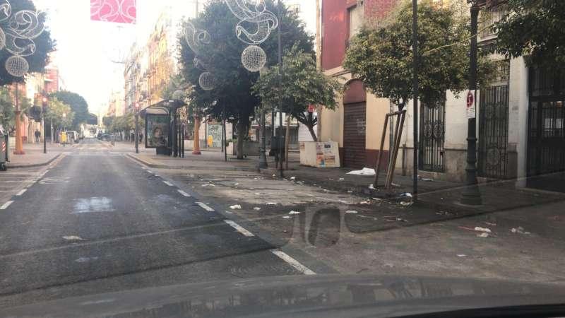 Aspecto de una calle de Russafa esta mañana