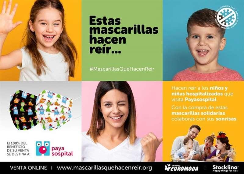 La campaña y las mascarillas, en una imagen facilitada por Payasospital.