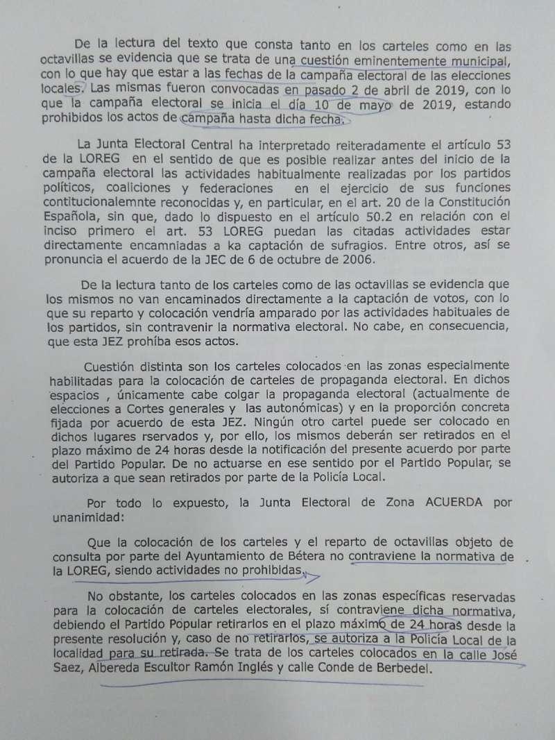 Decisión de la Junta Electoral de Llíria. /epda