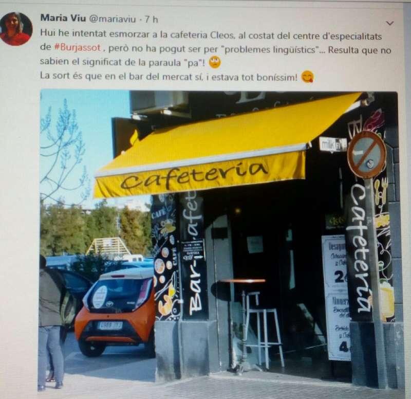 Tuit de la concejala nacionalista de Burjassot.