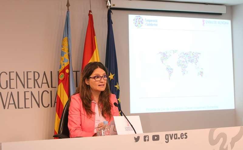 Mónica Oltra, la vicepresidenta del Consell, en rueda de prensa posterior a la celebración del pleno.