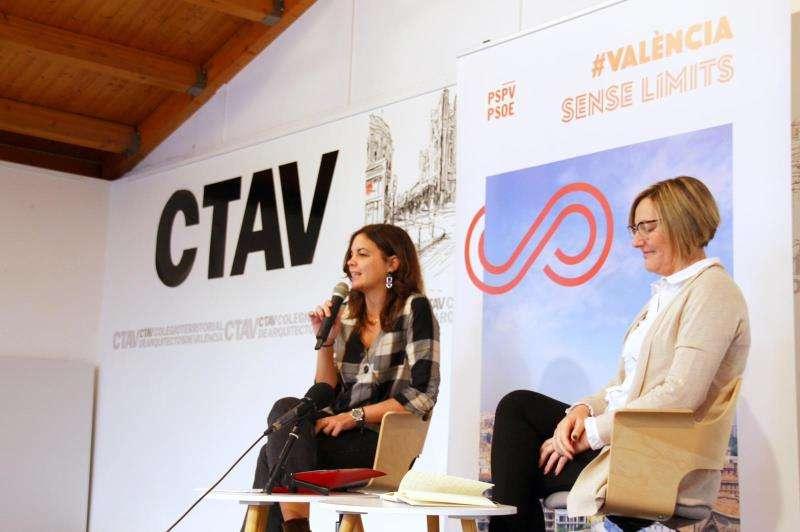 Sandra Gómez, en el acto de hoy, en una imagen difundida por el PSPV. EPDA
