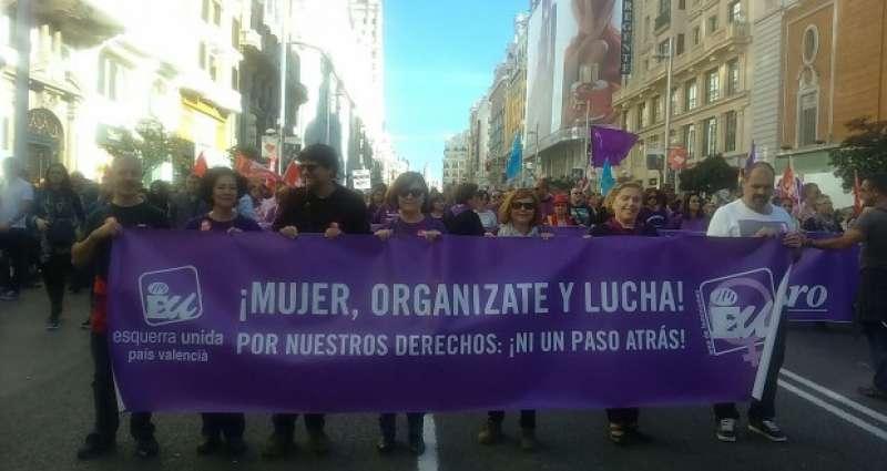 Pancarta con la que EUPV acudió el 7N para la Marcha contra la violencia machista
