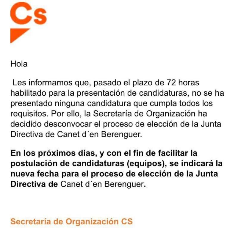 Escrito remitido por la dirección de Ciudadanos en la Comunitat Valenciana. FOTO EPDA