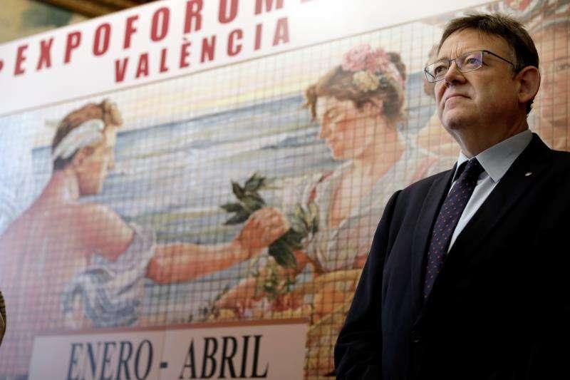 El president e la Generalitat, Ximo Puig, durante la presentación en julio de Expofórum 2019, que conmemorará la Exposición Regional Valenciana de 1909.EFE/Archivo