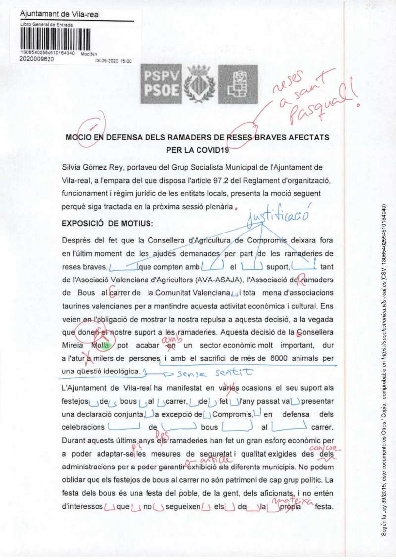 Moción presentada por el PSPV de Vila-real