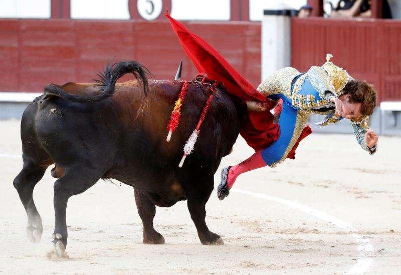 El diestro Román Collado cogido por el primero de su lote durante su faena en Las Ventas. EFE