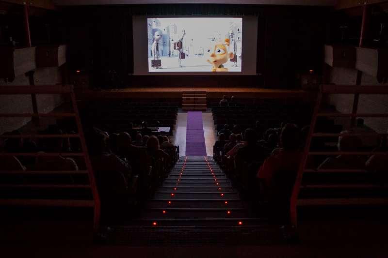 Proyección de uno de los cortometrajes