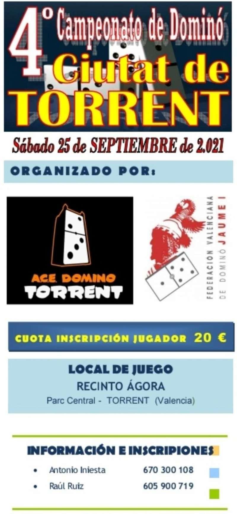 Cartel del Campeonato Dominó de Torrent.