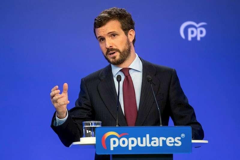 El líder del PP, Pablo Casado, durante la rueda de prensa posterior a la reunión del Comité de dirección del partido celebrada este lunes. EFE
